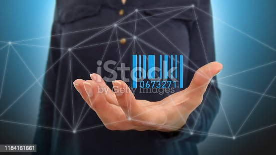 92884259 istock photo Businesswoman on blurred background using barcode on digital interface 1184161661
