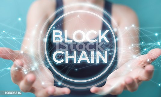 Businesswoman on blurred background using blockchain cryptocurrency interface 3D rendering
