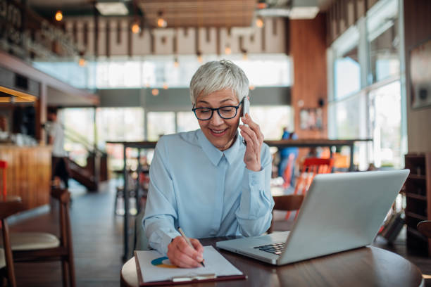 Businesswoman on her Phone stock photo