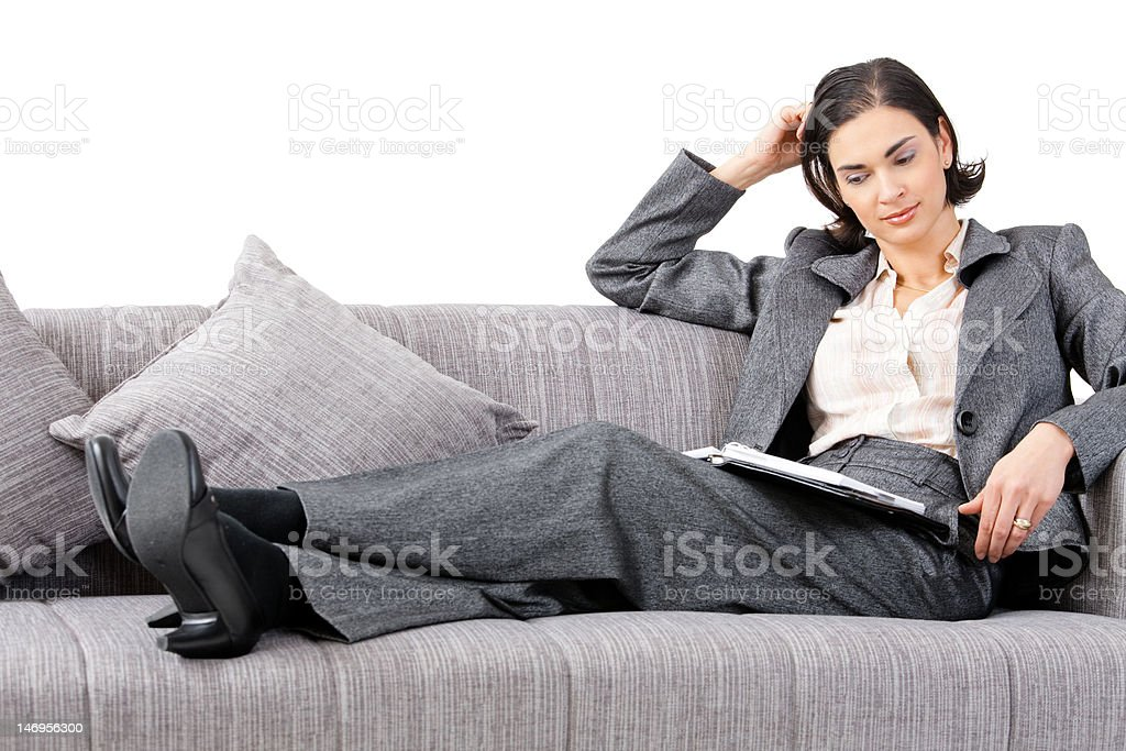 Businesswoman on sofa royalty-free stock photo