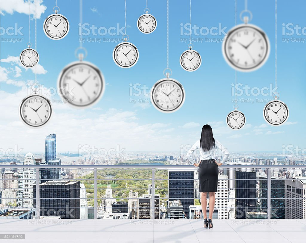 Businesswoman on the roof stock photo