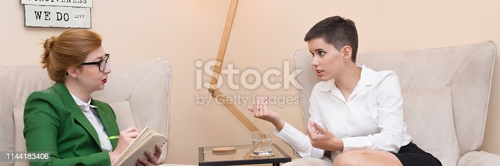 istock Businesswoman on the therapy 1144183406