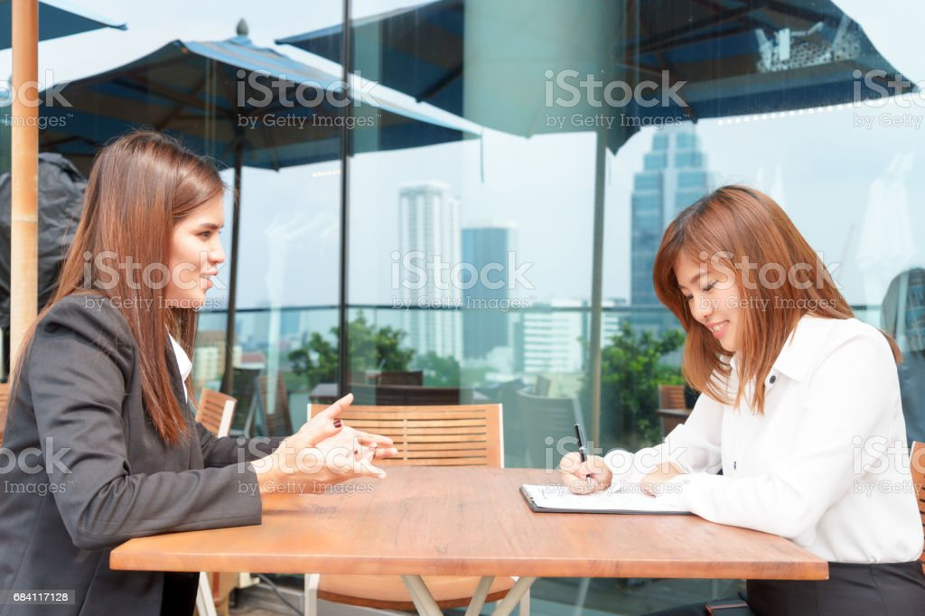 Businesswoman or manager interview her candidate - interview concept. royalty free stockfoto