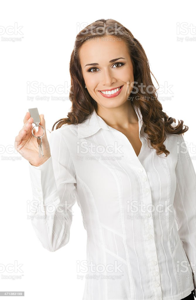 Businesswoman or real estate agent with keys stock photo