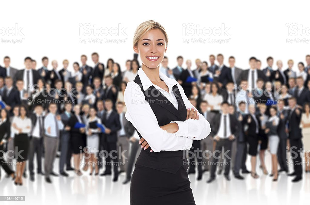 businesswoman over group of people stock photo