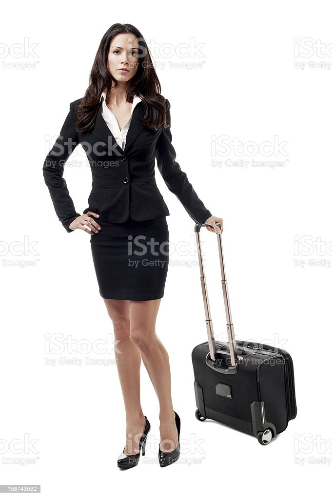 Businesswoman Pharmaceutical Salesperson Attorney with Suitcase Isolated on White Background royalty-free stock photo