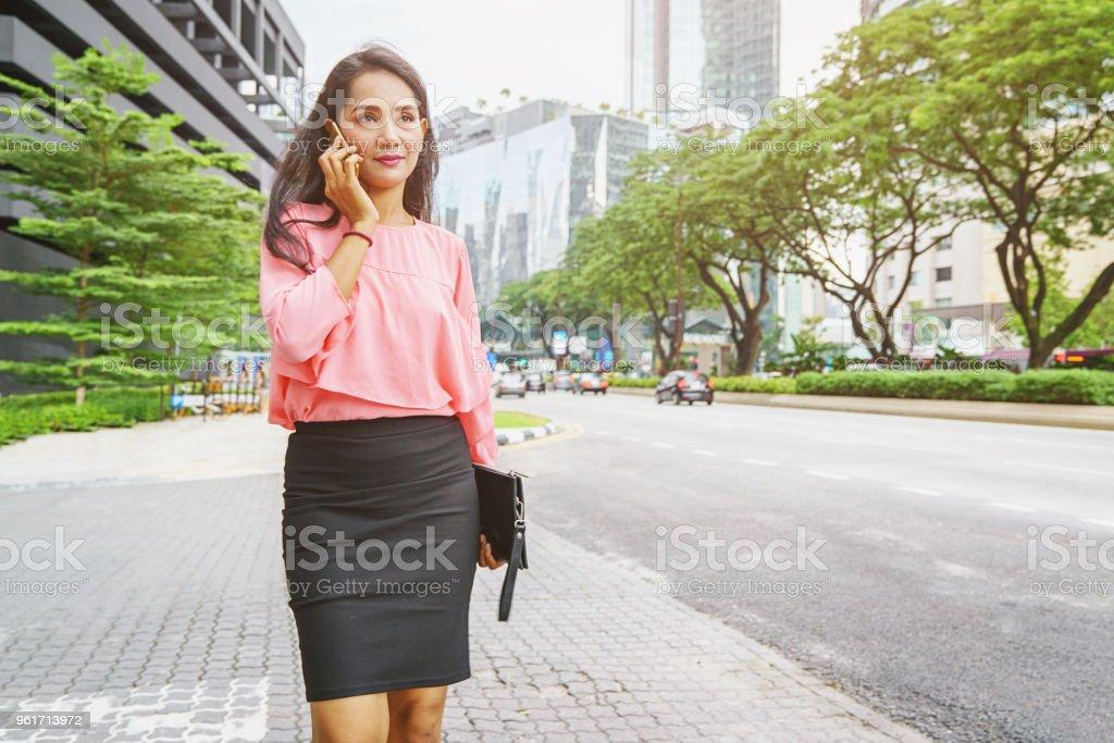 Businesswoman Phone Call Kuala Lumpur Malaysia Royalty Free Stock Photo