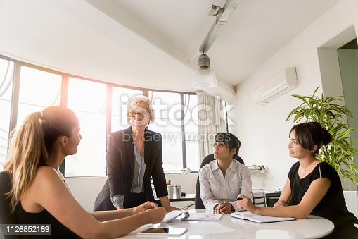 Businesswoman talking with coworkers in board room. Female manager discussing with colleagues at office. They are wearing smart casuals.