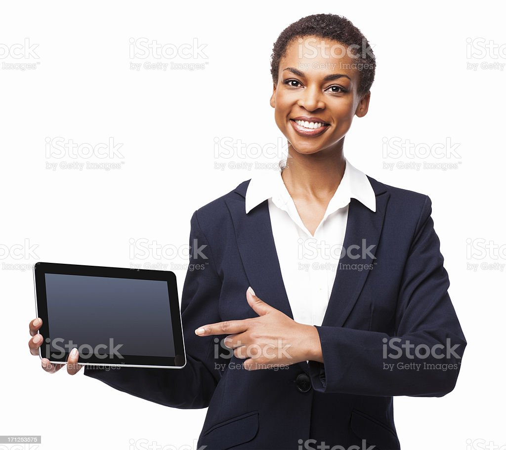 Businesswoman Pointing At a Digital Tablet PC - Isolated stock photo