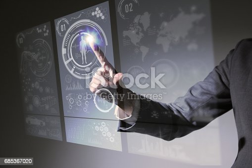872677426 istock photo businesswoman pointing hologram interface, futuristic GUI(Graphical User Interface), IoT(Internet of Things), technological abstract 685367020