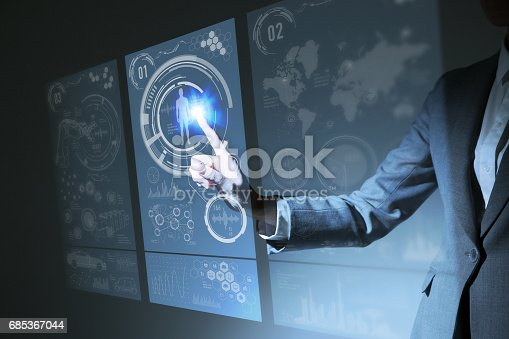 istock businesswoman pointing hologram interface, futuristic GUI(Graphical User Interface), IoT(Internet of Things), technological abstract 685367044
