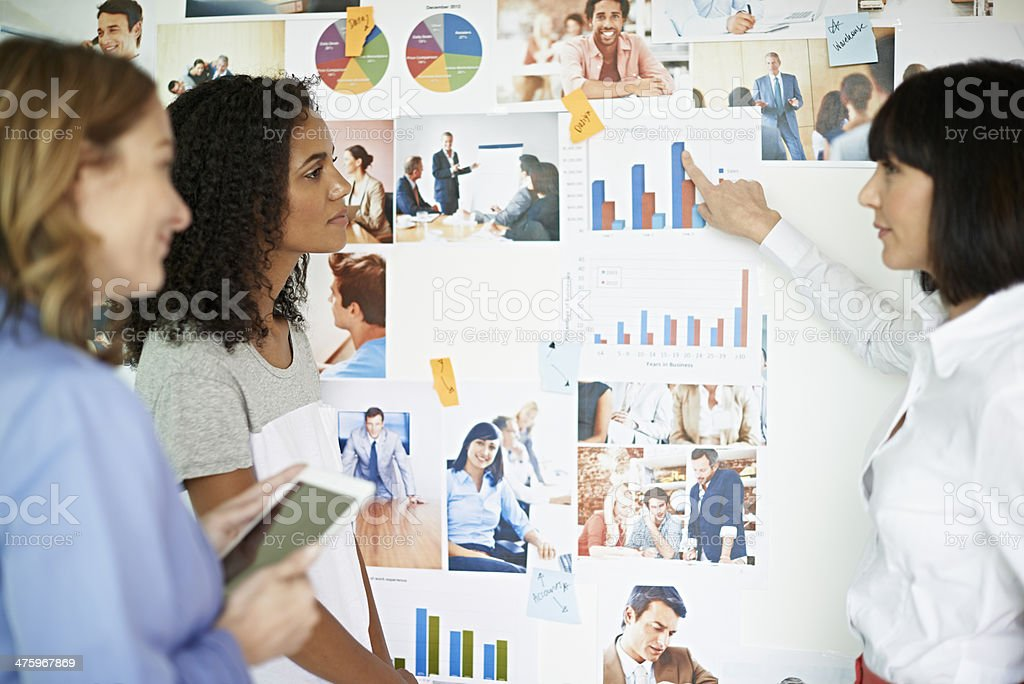 Businesswoman pointing out on graph stock photo