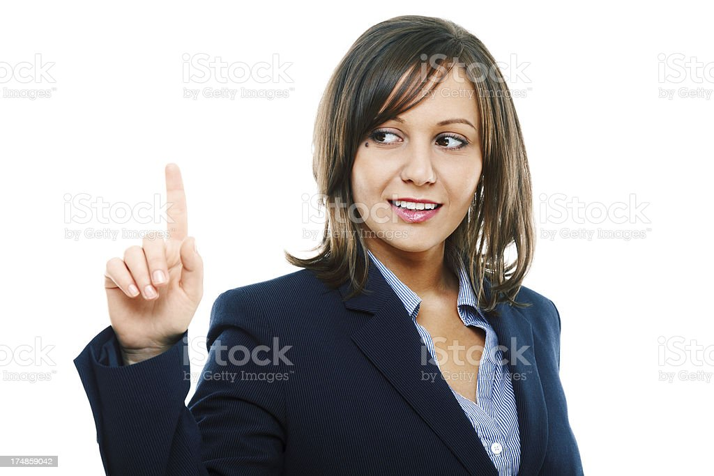 Businesswoman pointing royalty-free stock photo