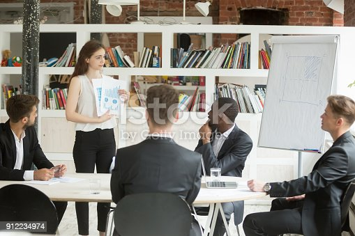 1085713886istockphoto Businesswoman presenting design project to investors, showing clients statistics report 912234974