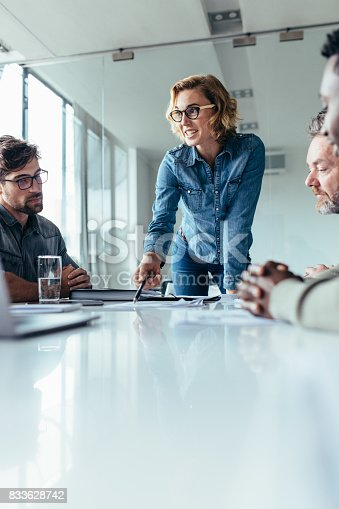 istock Businesswoman presenting her ideas to coworkers 833628742