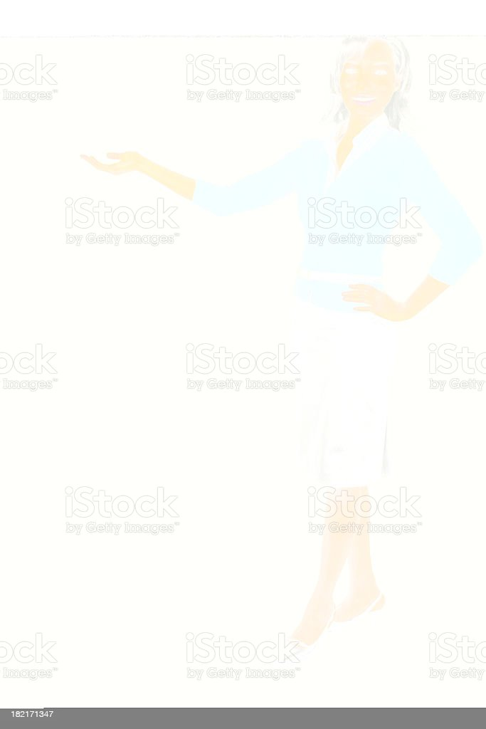 Businesswoman presenting to her right royalty-free stock photo