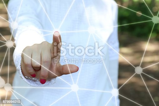515789546istockphoto Businesswoman pressing button on touch screen 879994010