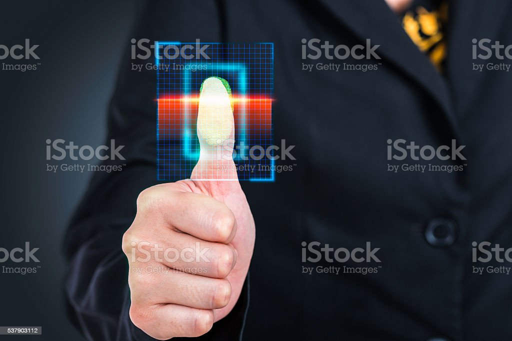 Businesswoman pressing  scan bar code high technology. stock photo