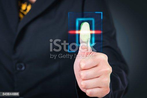 istock Businesswoman pressing  scan bar code high technology. 545644666