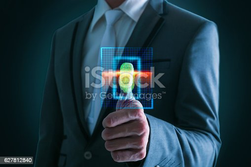 istock Businesswoman pressing  scan bar code high technology. 627812840