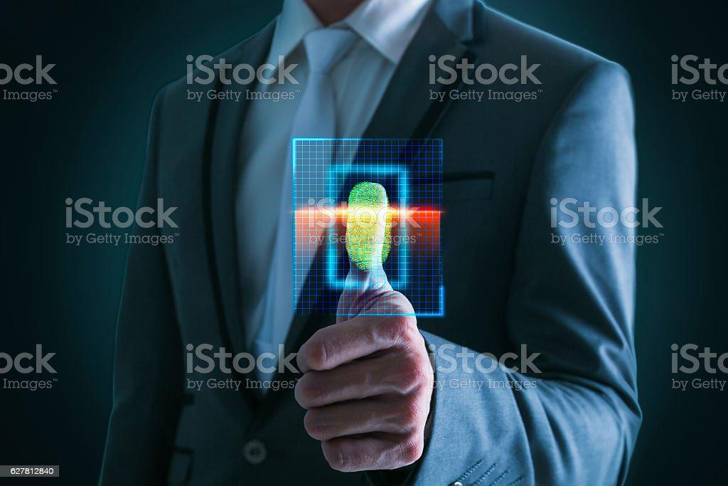 Businesswoman pressing  scan bar code high technology. stock photo