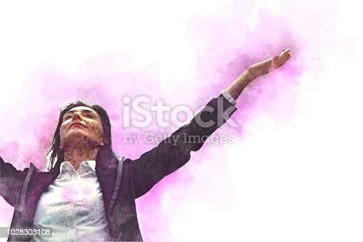istock Businesswoman raised her hand and happy on watercolor painting background. 1028303108