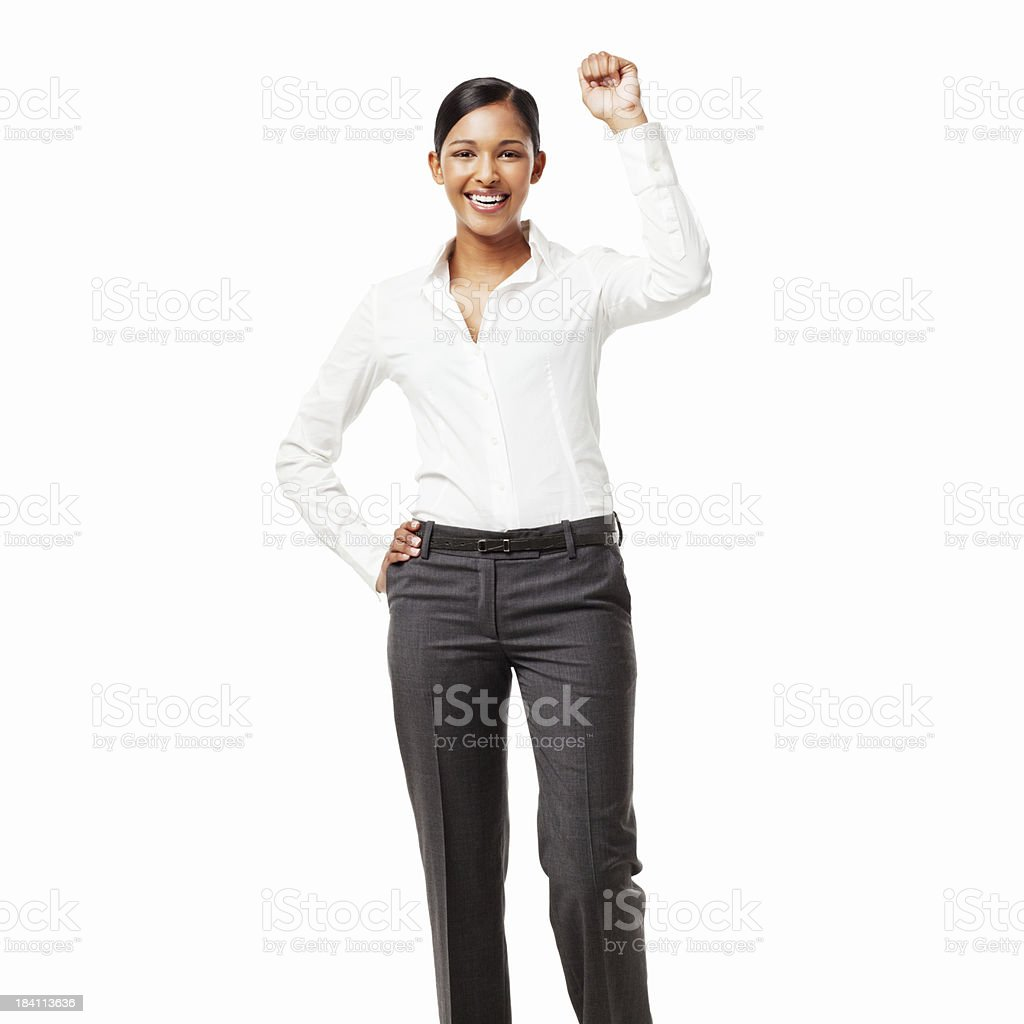 Businesswoman Raising Her Fist in the Air - Isolated royalty-free stock photo