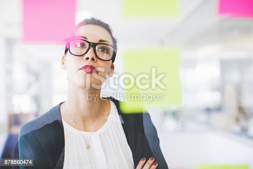 istock Businesswoman reading adhesive notes on glass wall 878860474