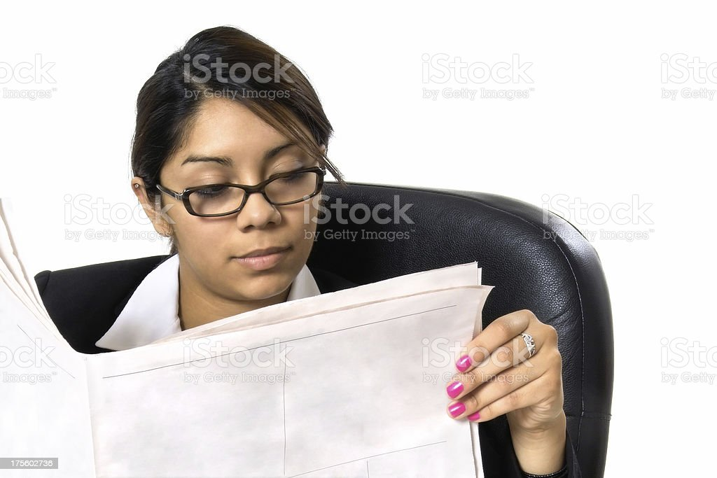 Businesswoman Reading The Paper II royalty-free stock photo