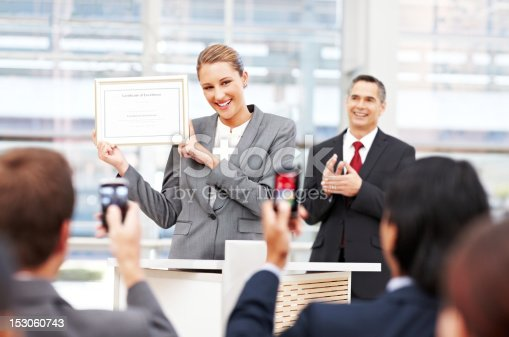 istock Businesswoman Receiving an Award 153060743