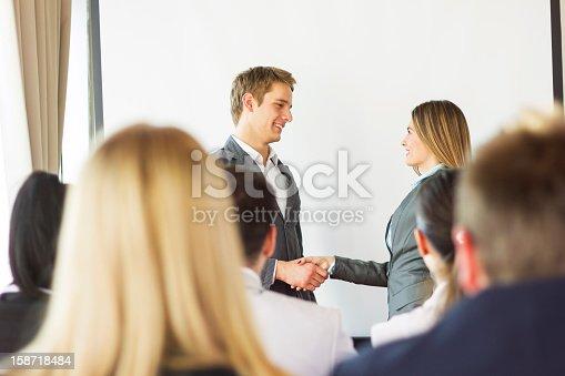 603992132 istock photo Businesswoman receiving an award. 158718484