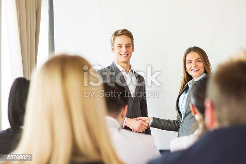 603992132 istock photo Businesswoman receiving an award 158765021