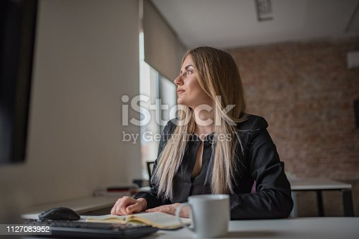 istock A businesswoman records business plans in the office. 1127083952