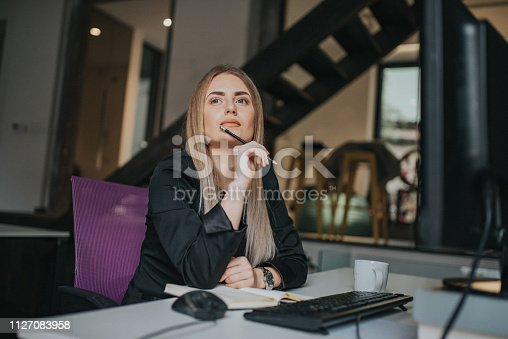 istock A businesswoman records business plans in the office. 1127083958