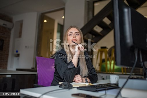 istock A businesswoman records business plans in the office. 1127083993