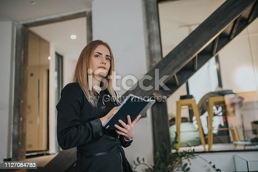 istock A businesswoman records business plans in the office. 1127084783