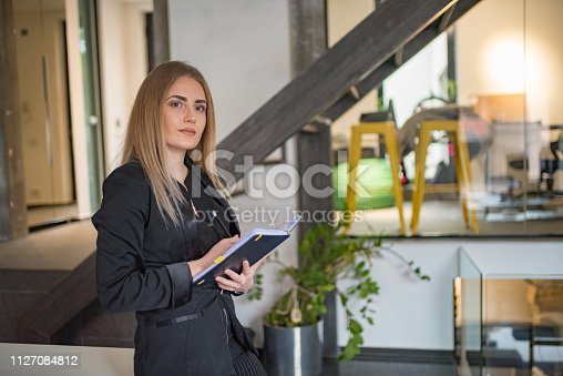 istock A businesswoman records business plans in the office. 1127084812