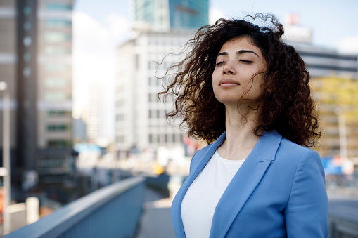 Businesswoman Relaxing Outdoor Stock Photo - Download Image Now