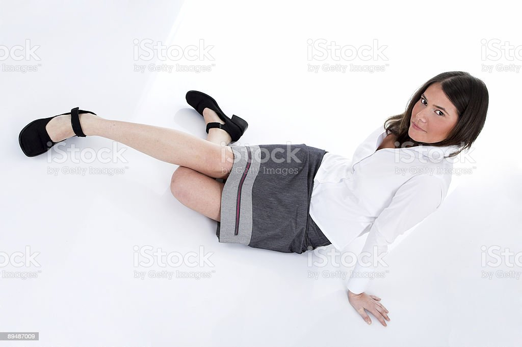 Businesswoman resting on the floor royalty-free stock photo