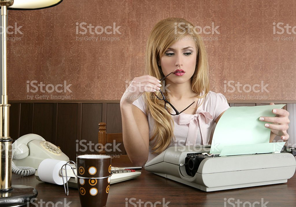 businesswoman retro secretary office vintage stock photo