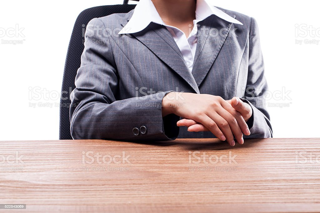 Businesswoman Rubbing Hands stock photo