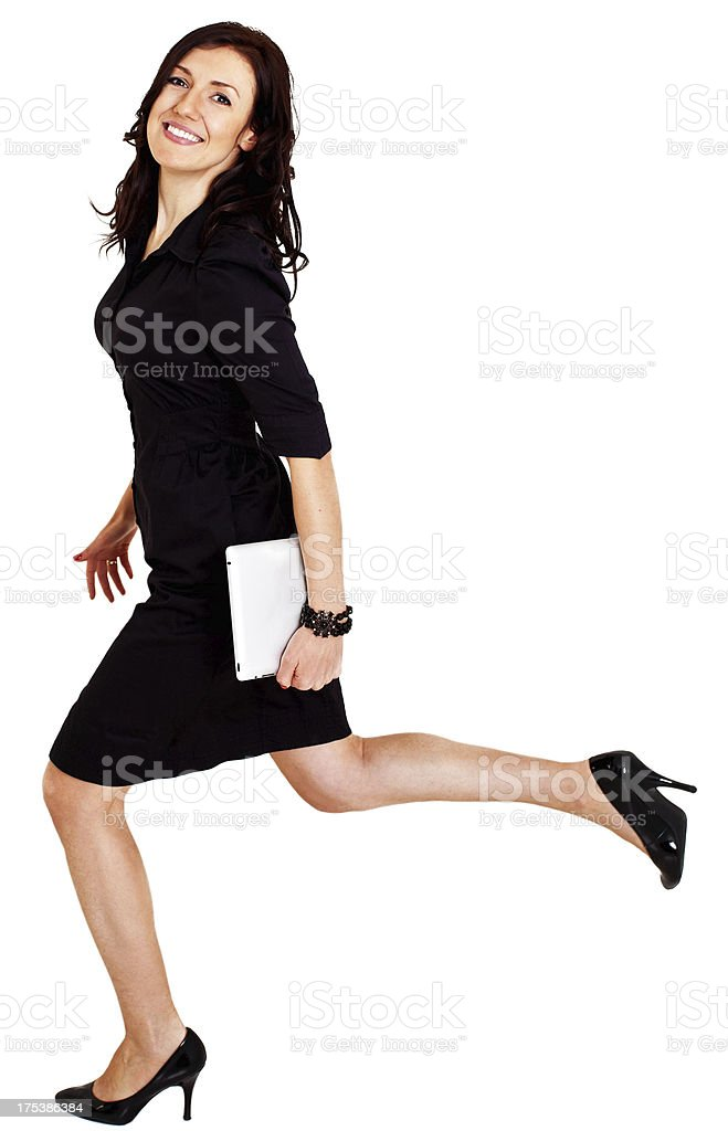 Businesswoman running royalty-free stock photo