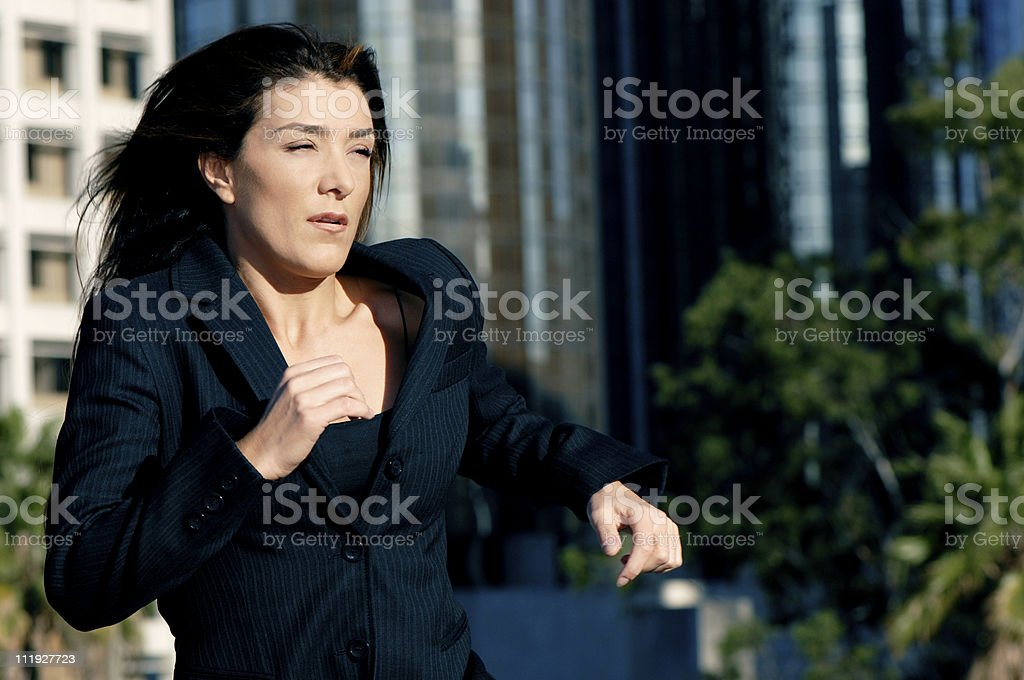 Businesswoman Running to Meeting royalty-free stock photo