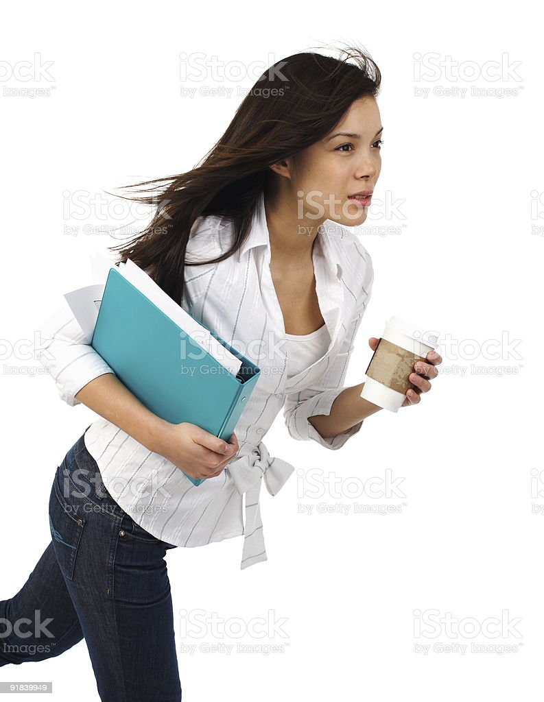 Businesswoman running with Coffee stock photo