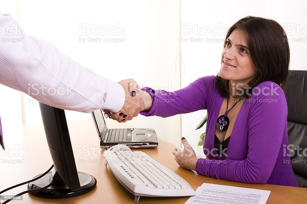 businesswoman sealing a deal royalty-free stock photo