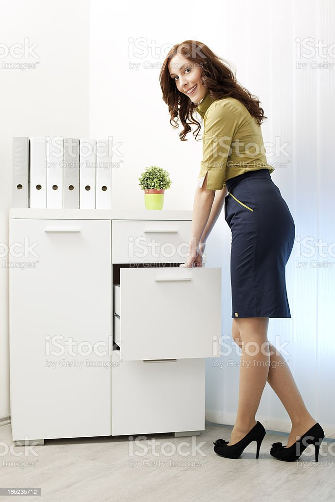 Businesswoman Searching Files royalty-free stock photo