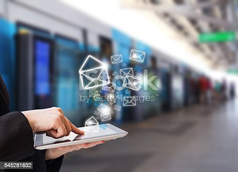 545576042 istock photo Businesswoman sending email marketing 545281632