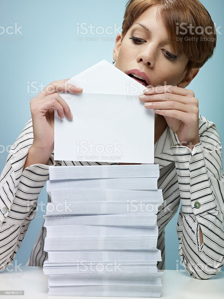 businesswoman sending mail stock photo