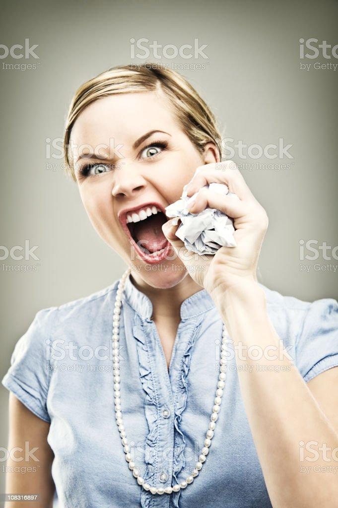 Businesswoman series - crumpling paper royalty-free stock photo