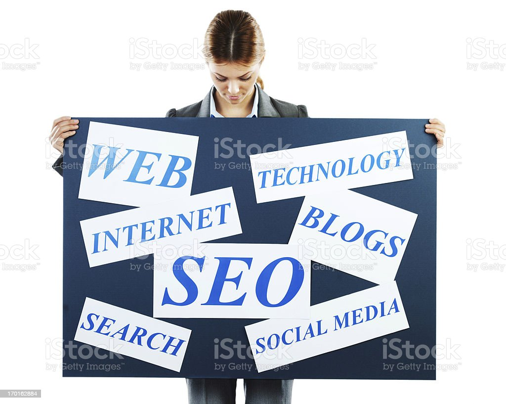 Businesswoman showing banner. stock photo